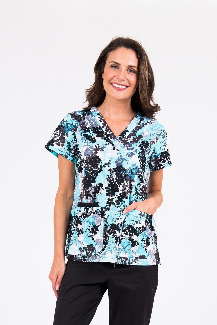Med Couture - Blue Crush Blooms Valerie Print Top